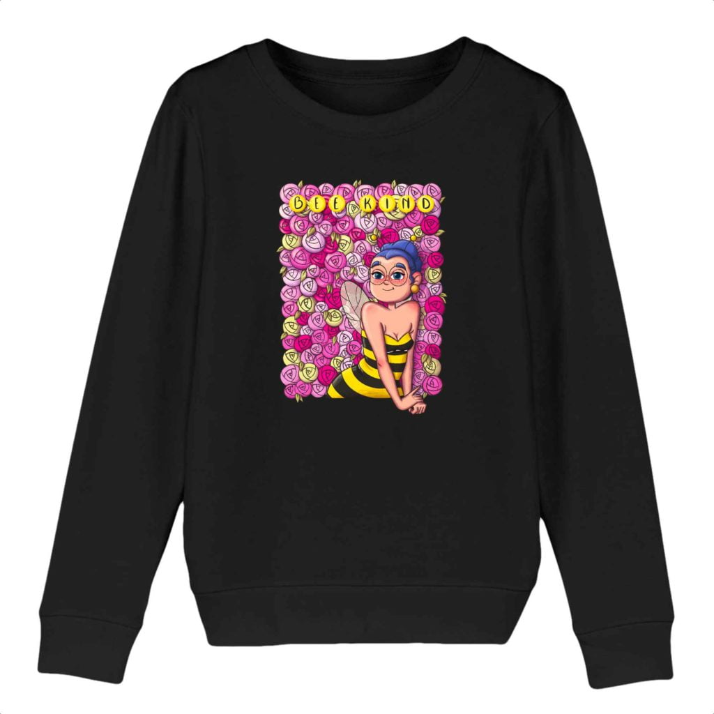 Bee Kind Organic Cotton Kids Crewneck Sweater
