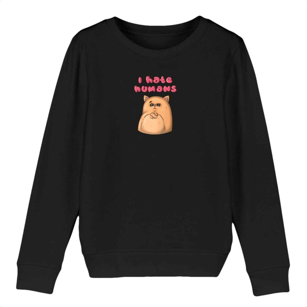 I Hate Humans Organic Cotton Kids Crewneck Sweater